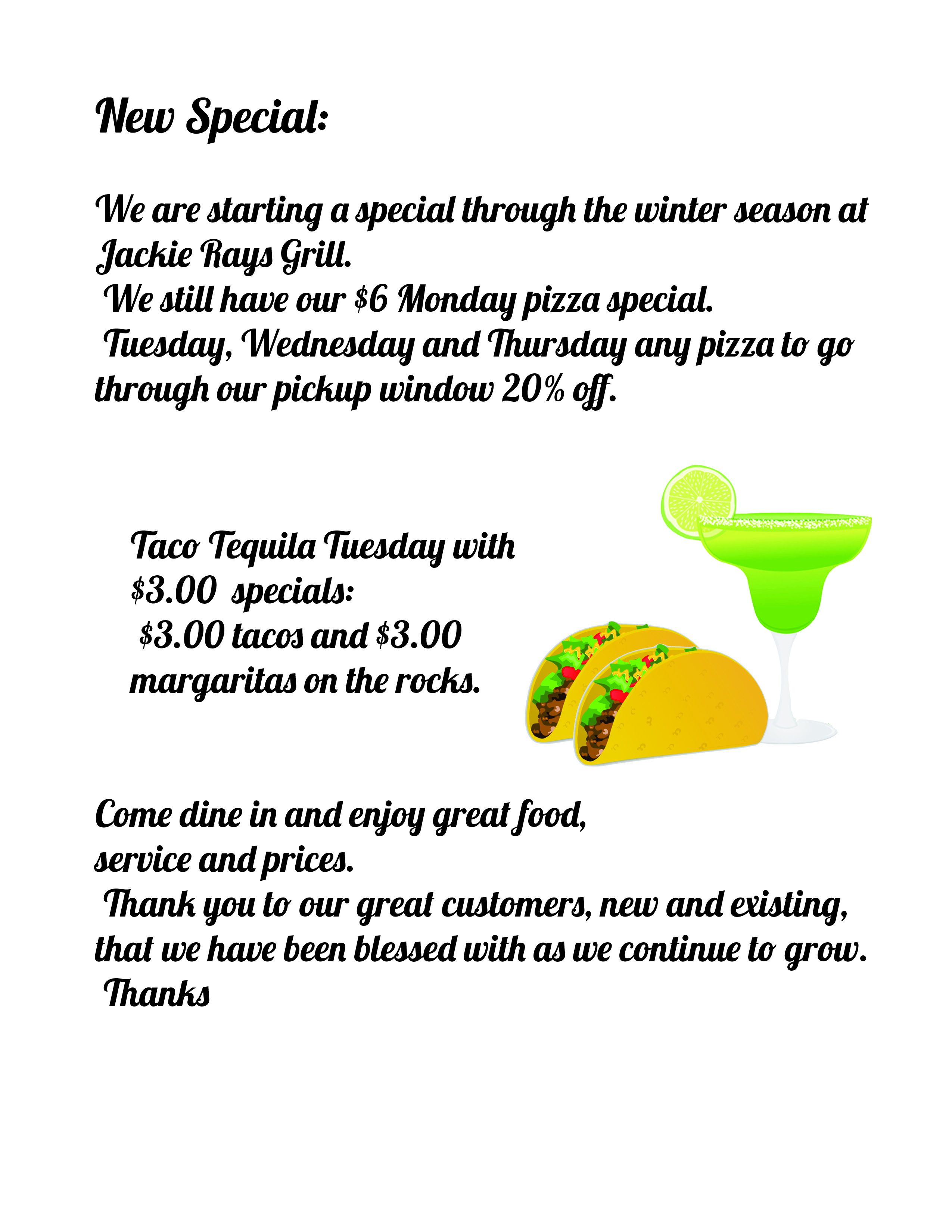 specials page with margarita and taco